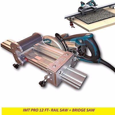 Imt Pro Wet Cutting Makita Motor Rail Bridge Saw Combo For Granite -12 Ft Rail