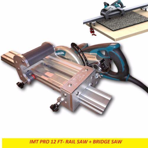 IMT PRO Wet Cutting Makita Motor Rail + Bridge Saw combo for granite -12 ft Rail