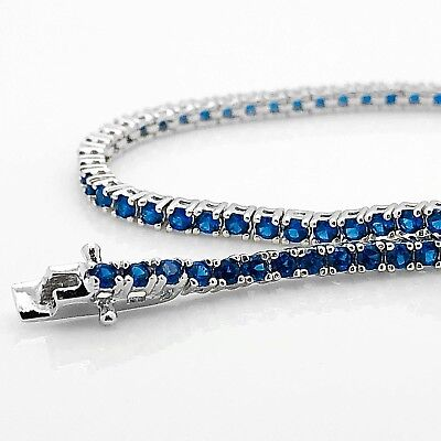 925 Sterling Silver Round Blue Sapphire One Row Tennis Dainty 7.25 inch Bracelet