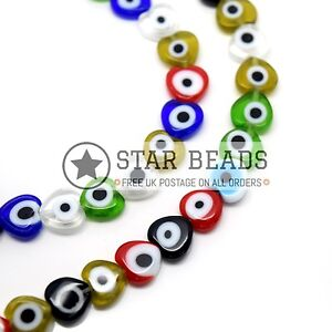48 X EVIL EYE HEART GLASS BEADS 8MM MIXED COLOURS