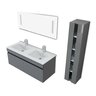 "48"" Gray Bathroom Vanity Double Basin Ceramic Sink with Faucet Deluxe Set"