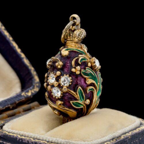 Antique Vintage Nouveau Sterling Silver Gold Russian Enamel Faberge Pendant 8.9g