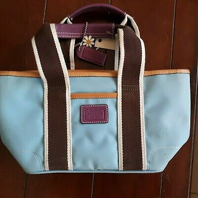 Coach Hampton Small Shopper Tote Bag Light Blue/Brown Purple Trim