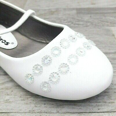 Infant Toddler Girls Ballet Flat Dress Shoes White Size 4-9