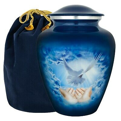 Love Faith and Grace Soaring Dove Adult Large Urn for Human Ashes - w Velvet Bag