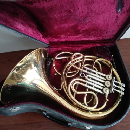 Vintage FRENCH HORN LYONS MONARCH with hard case made in CHICAGO, IL USA
