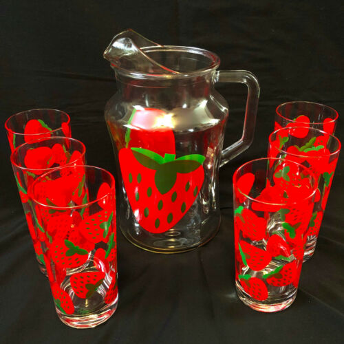 Lovely Vintage Colony Strawberry Print Glass Water Pitcher & 6 Drink Glasses Set