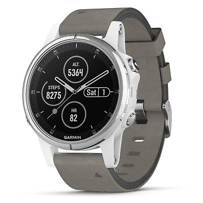 Garmin Fenix 5S Plus Sapphire, White with Gray Suede Band HR Watch 010-01987-04