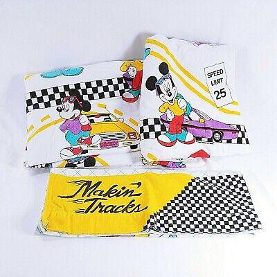 Mickey Mouse Twin Sheet Pillow Case Set Race Car Walt Disney Flannel  for sale  Glen Flora