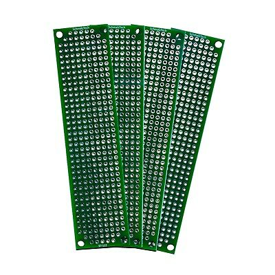 4 Pack - High Quality Double Sided Proto Perf Board With Solder Mask 4x1