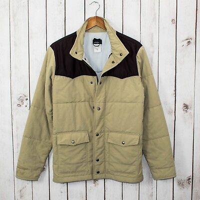 PATAGONIA Men's Western Snap Zip Down Jacket Beige Brown Size Medium