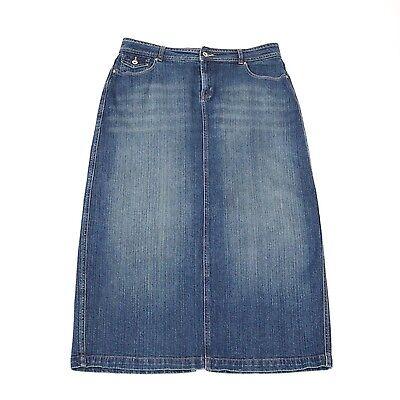 Cato Denim Jeans Skirt 14 Long Stretch A-Line Back Slit Distressed with - Back Slit Denim Jeans