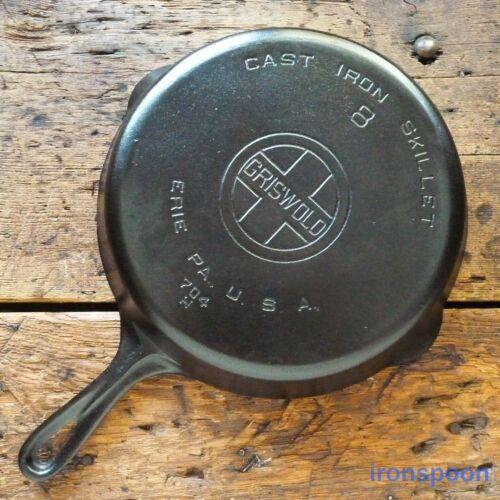 Vintage GRISWOLD Cast Iron SKILLET Frying Pan # 8 LARGE BLOCK LOGO - Ironspoon