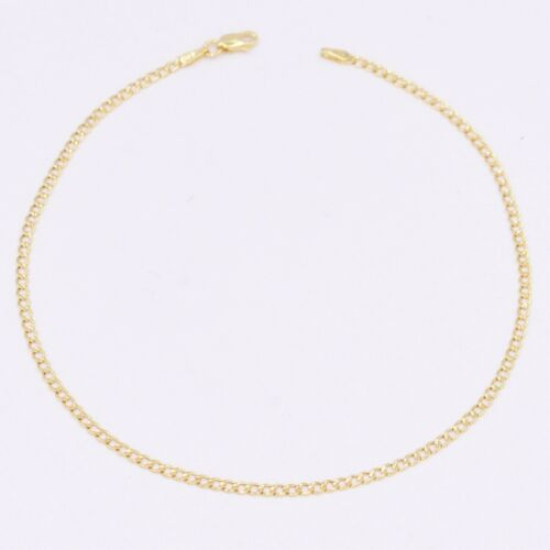 """2.1mm All Shiny Miami Cuban Ankle Anklet Real 10K Yellow Gold 10"""""""