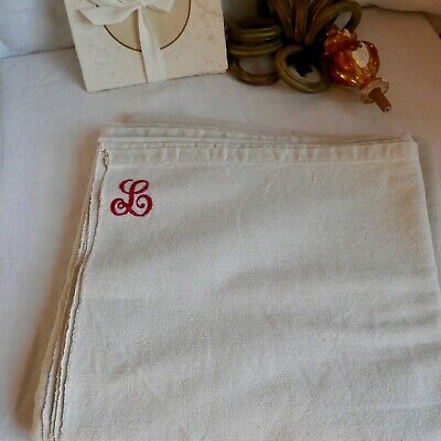 Antique Bedding Panel Off White Monogram L Single Sheet Bedcover / French Decor