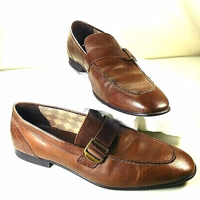Men's Zara Monk Strap Apron Casual Brown Leather Loafers Shoes Size 10 Portugal