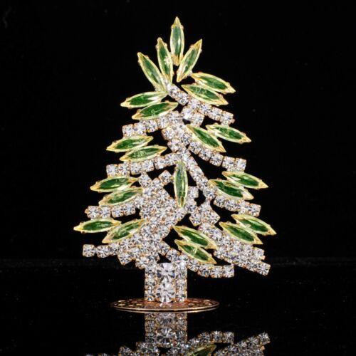 "Christmas tree from Czech republic - uranium rhinestone  - 3.54"" x 2.36"""