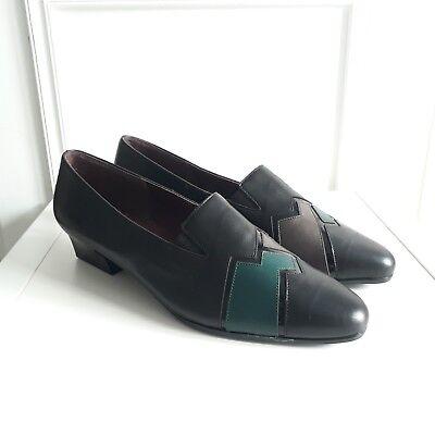 Zig Zag Vtg Hogl Black Leather Turquoise Grey  Granny Court Shoes 80s Sz 7 / 41