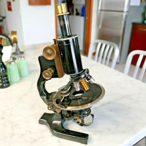 "Antique Vintage Microscope Spencer w/Mechanical Stage 15 lbs. Brass 15"" Tall"
