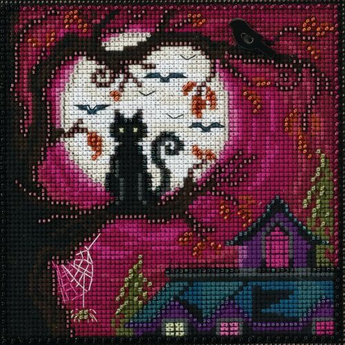 Moonstruck Beaded Counted Halloween Cross Stitch Kit Mill Hi