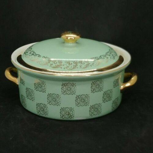 Vintage Hall Monterey Green and Gold Covered Casserole 8""