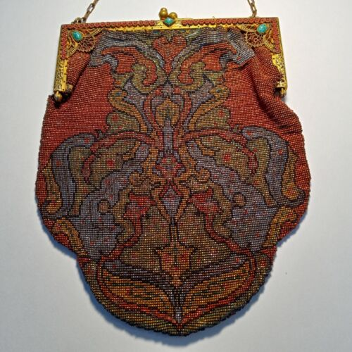 Antique Beaded Purse Bag Jeweled Gold Frame with Red Flowers & Turquoise Stones
