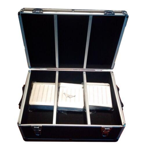 New 510 CD DVD Black Aluminum Case Media Storage Holder with Hanger Sleeves