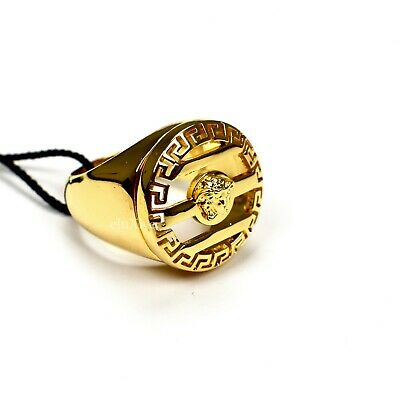 NWT $325 Versace Gold Medusa Logo Greek Key Cutout Large Round Ring AUTHENTIC