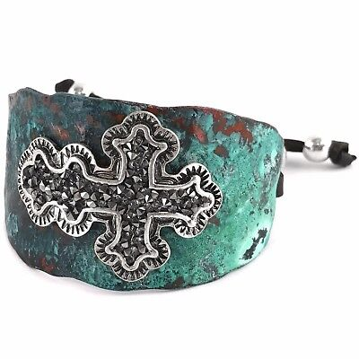 Leather Rhinestone Cross (WESTERN HAMMERED PLATE METALLIC RHINESTONE CROSS LEATHER CUFF BRACELET )