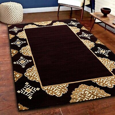 Modern black gold Area rug Nwprt #85 soft pile size 2x3 3x5 5x7 - Black Gold Carpet