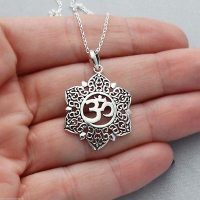 Lotus Flower Om Necklace - 925 Sterling Silver Filigree Petals Yoga Ohm Symbol - Lotus Blossom Symbol