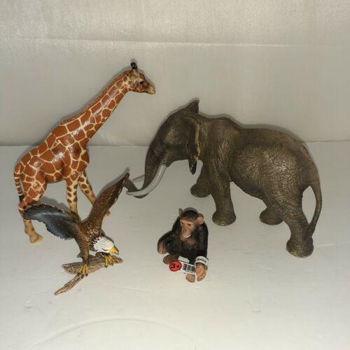 Schleich Lot of 4 Wild Animals Eagle Giraffe Chimp Elephant