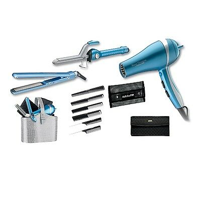 BABYLISS PRO NANO TITANIUM HAIR DRYER, FLAT IRON, CURLING IRON, COMBS CASE SET
