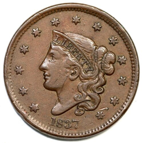 1837 N-9 Matron or Coronet Head Large Cent Coin 1c