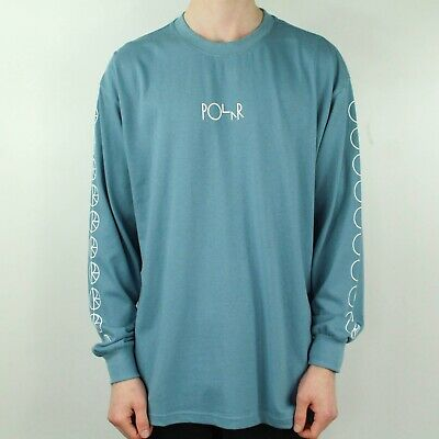 Polar Racing Long Sleeve T-Shirt Tee in Grey/Blue in size S,M,L