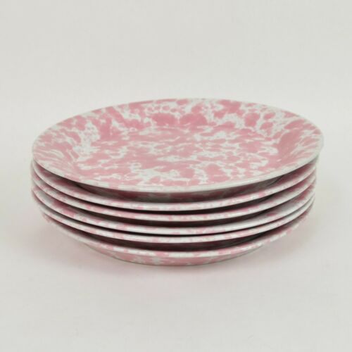 (6) BENNINGTON POTTERS Pink Agate Pottery SALAD PLATES #1628ya