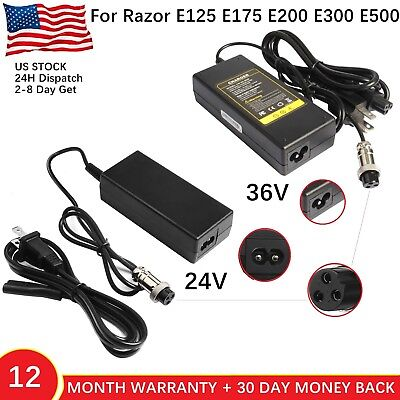 For Razor Electric Skip Scooter Battery Charger e125 e175 e200 e300 e500 - 200 Scooter