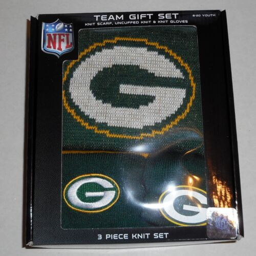 GREEN BAY PACKERS KNIT WINTER HAT BEANIE GLOVES SCARF SET BOYS YOUTH 8-20 NWT