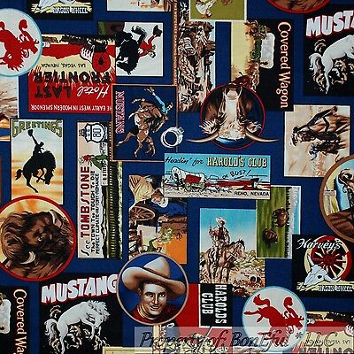 BonEful Fabric Cotton Quilt Blue Red Brown Block Patchwork COWBOY Lasso 4H SCRAP
