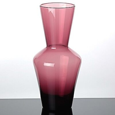 Glas Vase lila aubergine 25 cm Vintage ~ 60er Jahre Glasvase