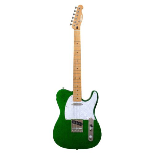 Sparkle Stage Vegas by Quincy Tele Style Electric Guitar Metallic Green stars