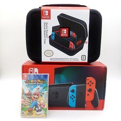 Nintendo Switch Neon Blue / Red Joy Con 32 GB Console Mario Game and Case Bundle