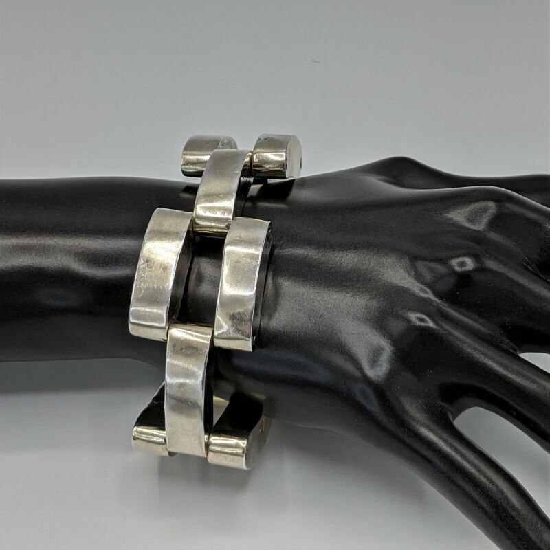 """Vintage Modernist Mexico Sterling Silver Chunky Abstract 3D Link 925 Bracelet 8"""""""
