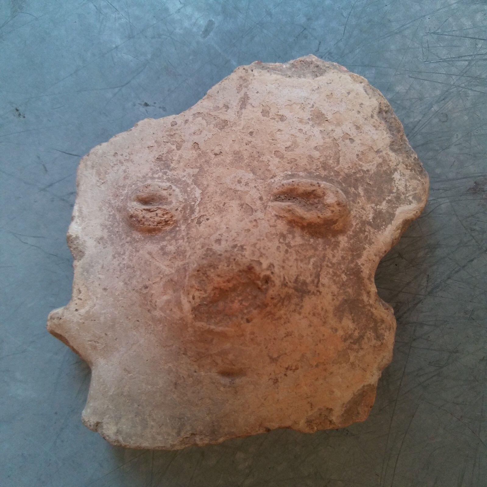 Antique Early Pre Columbian Terra Cota Figure Head South American Lot of 10