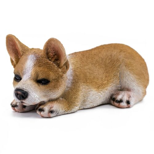 "Sleepy Corgi Dog Figurine Statue 7.5"" Long Resin New In Box!"