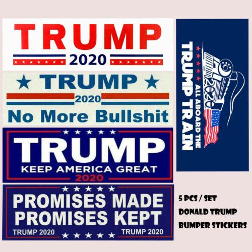 5 Pcs Set Donald Trump Bumper Stickers 2020 Keep America Great Train Sticker US