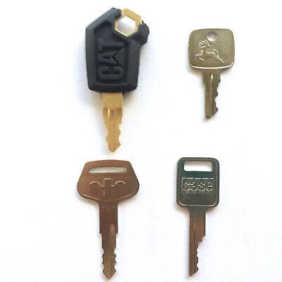 4 Pc Heavy Equipment Key Set - Cat John Deere Case Komatsu Oem Logos