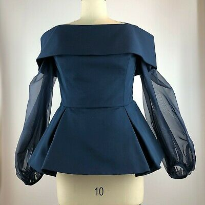 Elizabeth Kennedy Off The Shoulder Blouse Navy Sheer balloon sleeves Size14