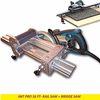 Imt Pro Wet Cutting Makita Motor Rail Bridge Saw Combo For Granite -16 Ft Rail