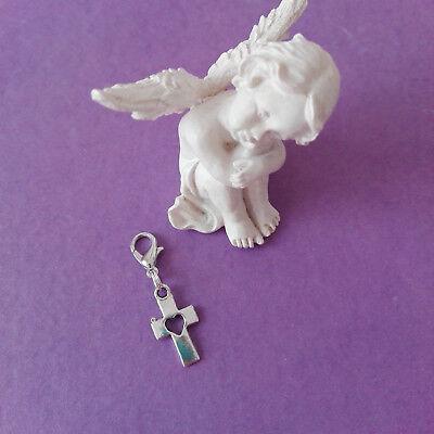 Kreuz mit Herz als Anhänger für Schlüssel, Federmappe Charms Danke Kommunion (42